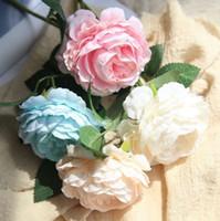 Свадебные украшения шелковые цветы пион букеты поддельных растений Одиночная головка искусственный свадебный букет декоративные 8 цветов оптом wzw-yw3361