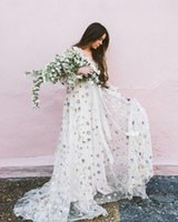 Boho Prom Dresses Stelle paillettes lunghi sleves