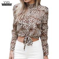 Camisa de gasa de las mujeres floral de la llamarada de manga corta arco del estampado leopardo de la blusa superior Crop Top Ropa para mujeres blusas mujer de moda calientes *