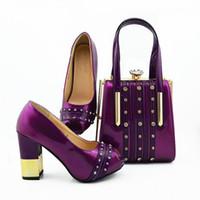 las mujeres de color púrpura nueva manera de la cubierta del bolso zapatos hacen juego con bombas africanos cristal decoración y gran conjunto de bolsas para MD010 vestido, 9.5CM talón