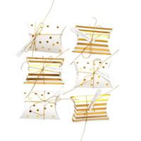 50Pcs / set Kissen Form-Schmucksache-Süßigkeit-Kästen Dot-Streifen Hochzeitsbevorzugungsgeschenk Partei Papiertüten