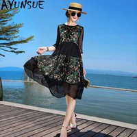 100% Silk Dress Women Summer 2020 Elegant Black Floral Beach...