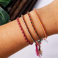 Polyester Thread String Bracelet Pray Yoga Handmade Pure Color Chic Tassel Bracelets For Men Women Adjustable With Friendship Card