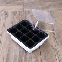 10 Stück Sämlingbehälter Seed Starter Tablett mit Haube und Basis 12 Zellen für Gartenbonsai - Weiß