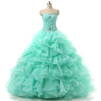 Newest Mint Quinceanera Dresses 2019 Applqiues Beads Sweet 1...