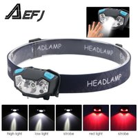 XPE LED Rechargeable Headlamp White Red Finger Induction Hea...