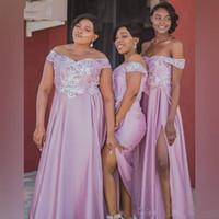 Romântico ombro Lilás Off africanos damas de honra baratos Vestido com vestidos de festa à noite Prom mangas Lace Sequins Beaded Wedding partido do cliente