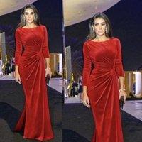 Élégant velours sirène robes de soirée Jewel manches longues Plis rouge Robes de soirée Longueur étage plissés Parti arabe Robes