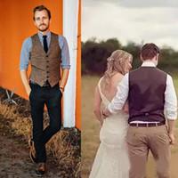 Formelle personnalisée Brown Tweed Gilet Laine Chevrons Groom Gilets style britannique Hommes Costume Gilets Slim Fit Robe Hommes Gilet mariage Gilet Casual