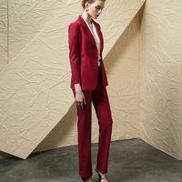 Очаровательная Red One Button Женщины Tuxedos дамы партии костюмы Wear девушки вечерние платья Неофициальное бюро Wear