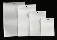클리어 + 화이트 진주 플라스틱 폴 리 OPP 포장 지퍼 소매 패키지 상자 PVC 플라스틱 포장 가방 USB 케이블 헤드폰 전화 케이스