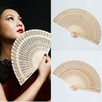Сандаловое Деревянные ручной вентилятор Китайский Японский Вуд Чайные складные веера Люкс Свадебные Fans Свадебный День подарков