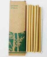 Bambu Payet Setleri Kullanımlık Çevre Dostu El Işi Doğal Bambu Payet İçme ve Temizleme Fırçası Ücretsiz Kargo