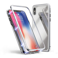 Custodia in metallo ad adsorbimento magnetico per iPhone X XS MAX 8 7 Plus Samsung s8 s9 nota 8 9 trasparente in vetro temperato con magnete incorporato Ultra Cover