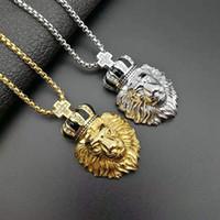 Хип-хоп ожерелье титан сталь цвет сохранение вакуумным покрытием 18K золото Бриллиантовая корона голова льва кулон