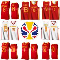2019 월드컵 농구 스페인 팀 Espana 유니폼 10 Victor Claver 1 Quino Colom 18 Pierre Oriola 22 Xavier Rabaseda Sergio Llull Beiran