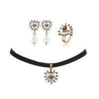 Diamanten Anhänger Perlen baumeln Ohrringe Herzring für Frauen Retro Luxus Biene Pearl Schmuck Set Mädchen Braut Hochzeitszubehör