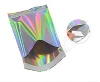Borsa di alluminio autoadesivo di vendita al dettaglio del sacchetto della stagnola il sacchetto per i vestiti di generi alimentari Packaging sacchetti espressi con colori olografico