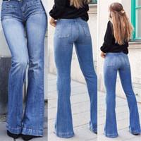 Pantalon flare Jeans pour femmes Mode parole longueur bleu denim délavé Jean taille haute maman de Bell Bottom Plus Size Jeans Ladies