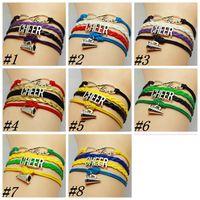 ファッション応援リーダーホーンチャームフットボールチームブレスレットラブインフィニティ多層編組ジュエールジュエリーZZA1711-1