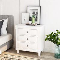 Waco Pine Cabinet da notte in legno, Glides Glides 3-cassetto Camera da letto Soggiorno Stanza di stoccaggio Organizzazione Stabile Tabella del telefono Bianco Bianco