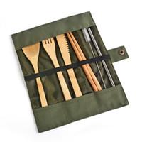 Talheres de madeira Conjunto de Talheres de Bambu Colher De Chá Garfo Faca de Sopa Chopsticks Partido Dinnerware Portátil com Saco