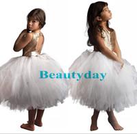 Paillettes d'or Princesse De Mariage Fleur Robes Des Filles Puffy Tutu 2019 Toddler Petites Filles Pageant Communion Robe Arc Keyhole Retour Pas Cher