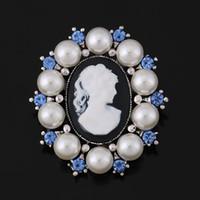 De alta calidad de imitación de la perla Rodeando camafeo de la vendimia para las mujeres o de boda