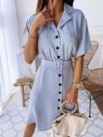 Summer T- shirt Dress With Belt Women 2020 Fashion Casual Sol...