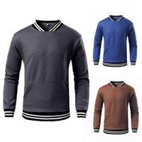 Rib Long Sleeve Sports Hoodies Pullover Hoodie Mens Spring Tops Mens Stand Collar Sweatshirts Solid Plaid Striped