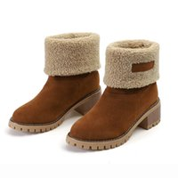 designer women shoes boots chunky heels mid- calf boot winter...