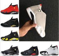 14 الرابع عشر تتأكسد الأخضر Indiglo الرعد التصفيات الأسود تو الأحمر الجلد المدبوغ 14s الرجال أحذية كرة السلة رياضة آخر قطة رياضة أحذية مصمم المدربين