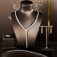 Simple Copper Zircone Set di quattro pezzi di gioielli da sposa gioielli popolari in Europa placcatura oro protezione colore accessori da sposa