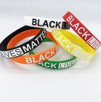Preto Vidas Matéria pulseiras de silicone pulso banda Pulseiras Letters Imprimir Rubber Bangles Pulseiras favor de partido LJJK2450