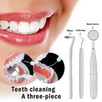 3pcs Mayorista / set Dientes Blanco / Color Púrpura Limpiador de luz LED oral Kit espejo dental + Placa + Quitar los dientes del diente herramienta goma de borrar las manchas Pulidora
