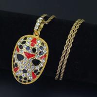 Hip-Hop-Gesicht Make-up Diamanten hängende Halskette für Männer Legierung Luxuxhalskette Peking Oper Cuban Ketten Schmuck 2 Farben golden Silber