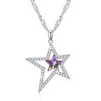 Swarovski Elements Pentagram 18inch Bağlantı Zinciri Kolye Klasik Takı hediyeler POTALA275 itibaren 45CM kolye Salkım S925 Gümüş