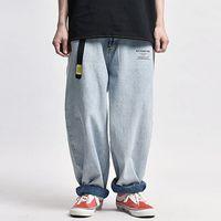 Промытые мешковатые джинсы мужские Streetwear Ленивый повседневные Широкий ноги джинсовые брюки свободные прямые брюки Мужчины олдскул папа джинсы