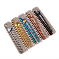 Нержавеющая сталь Солома Набор Straight Бента соломки щетка для очистки 7pcs набор трубочки с коробкой Многоразовой соломинкой панель инструментов FY4146
