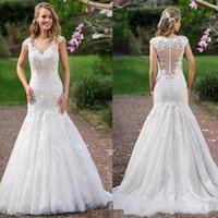 2019 Cap Sleeves Mermaid Wedding Dresses Lace Applique Sexy ...