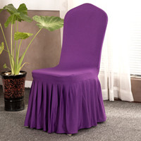 cubierta de silla Hem pleated stretch chair cover Hotel rest...