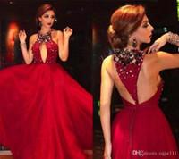 2019 New Myriam Fares Red Celebrity Kleider Major Perlen Halfter Ausschnitt mit Sexy Keyhole Ausschnitt A Line T Strap Back Tüll Abendkleider
