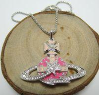 서유럽 여왕의 어머니 비비안 패션 핑크 유성 상감 진주 다이아몬드 토성 목걸이