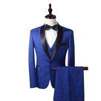 Royal Blue Groom Tuxedos Best Man Suits Peak Lapel Groomsmen One Buttons Groom Tuxedos Por encargo Hombre Traje Blazers chaqueta + pantalones + chaleco