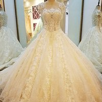 Champagne Bridal Gown Heavy Crystal Lace See- Through Back Ba...