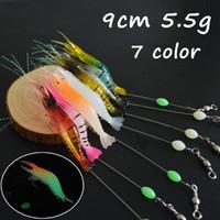10pcs / lot 7 colori luminosi gamberetti PVC morbido adesca i richiami 9 centimetri 5.5g Pesca singolo Pesca Ganci BL_7