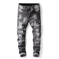 Erkek Jeans Yeni Erkekler Asya Boyut Jeans Slim Fit Delik Denim Hip Hop Casual Erkek Tahrip Pantolon Düğme Pantolon Ripped