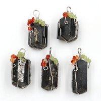 10 قطع سلك التفاف الشكل غير النظامية الأسود التورمالين حجر قلادة الفضة مطلي للهدايا الأزياء والمجوهرات