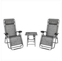 Mode Livraison Gratuite En Gros 2 pcs Zéro Gravité Salon Chaise gris avec Portable Porte-Gobelet Table