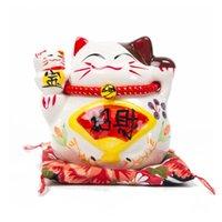 Traditionelle japanische glückliche Katze Sparkasse Weißes Porzellan Maneki Neko Figurine Fortune-Katze-G Asian Business Dekoration